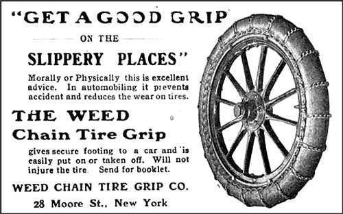 Реклама цепей на колеса 1908 года